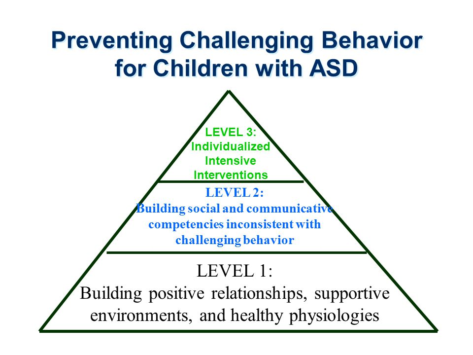Preventing Challenging Behavior for Children with ASD LEVEL 3: Individualized Intensive Interventions LEVEL 2: Building social and communicative compe