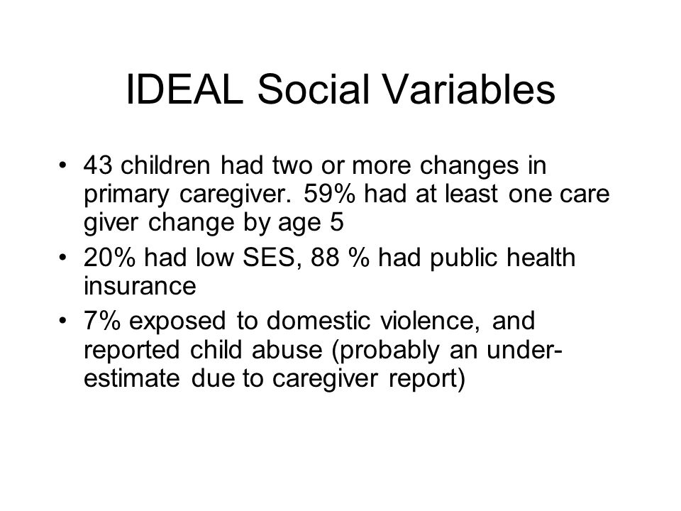 IDEAL Social Variables 43 children had two or more changes in primary caregiver.