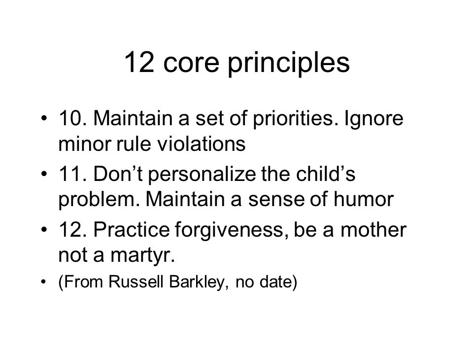 12 core principles 10. Maintain a set of priorities. Ignore minor rule violations 11. Don't personalize the child's problem. Maintain a sense of humor