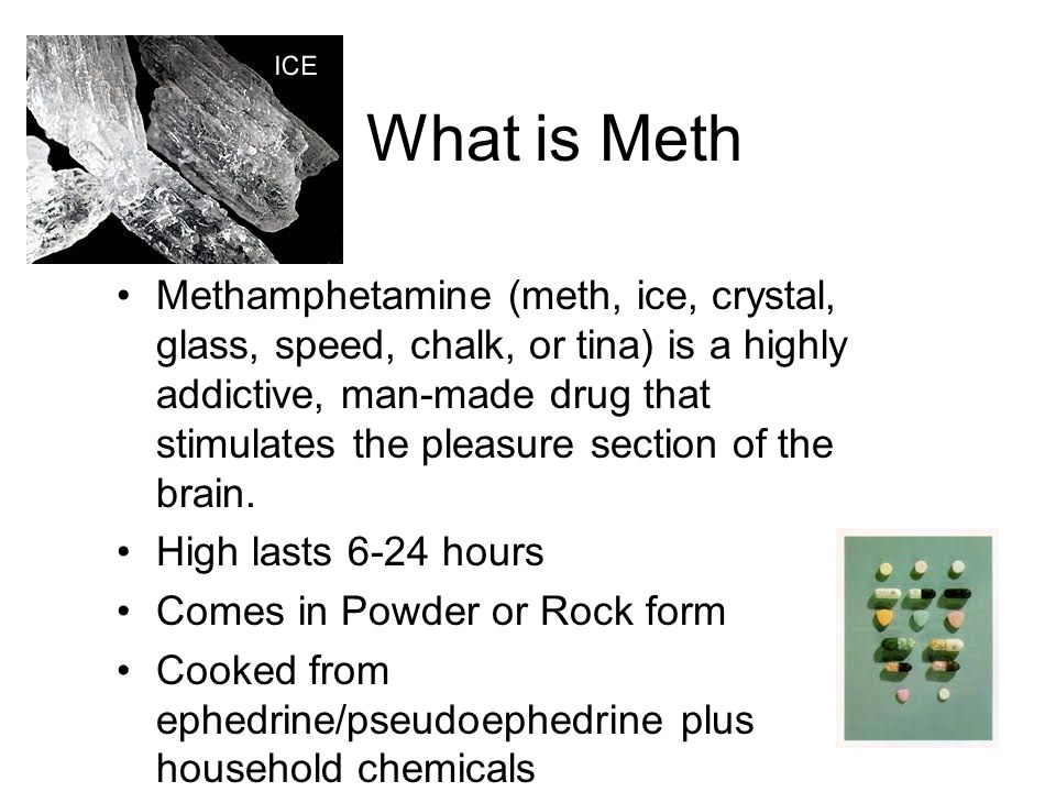 What is Meth Methamphetamine (meth, ice, crystal, glass, speed, chalk, or tina) is a highly addictive, man-made drug that stimulates the pleasure section of the brain.