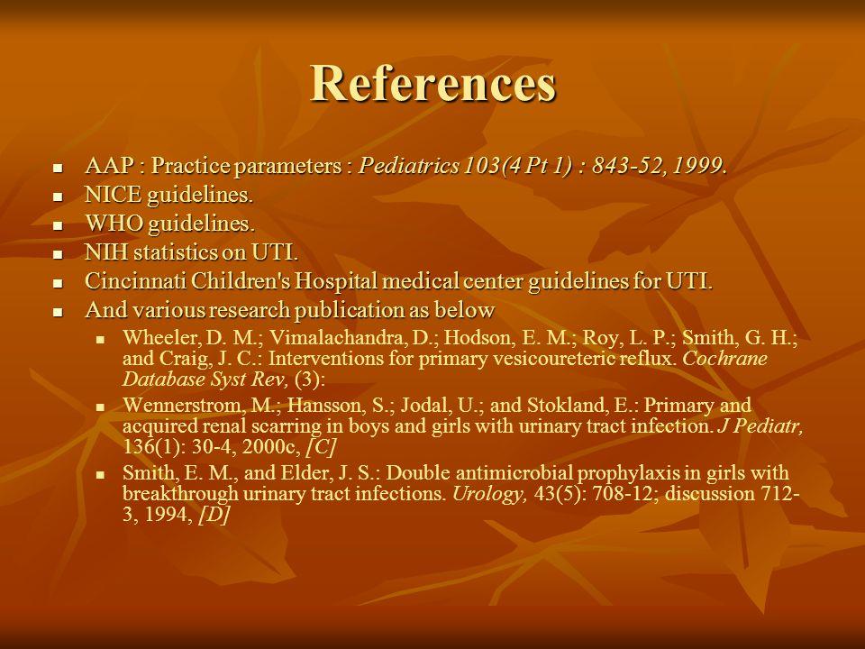 References AAP : Practice parameters : Pediatrics 103(4 Pt 1) : 843-52, 1999. AAP : Practice parameters : Pediatrics 103(4 Pt 1) : 843-52, 1999. NICE