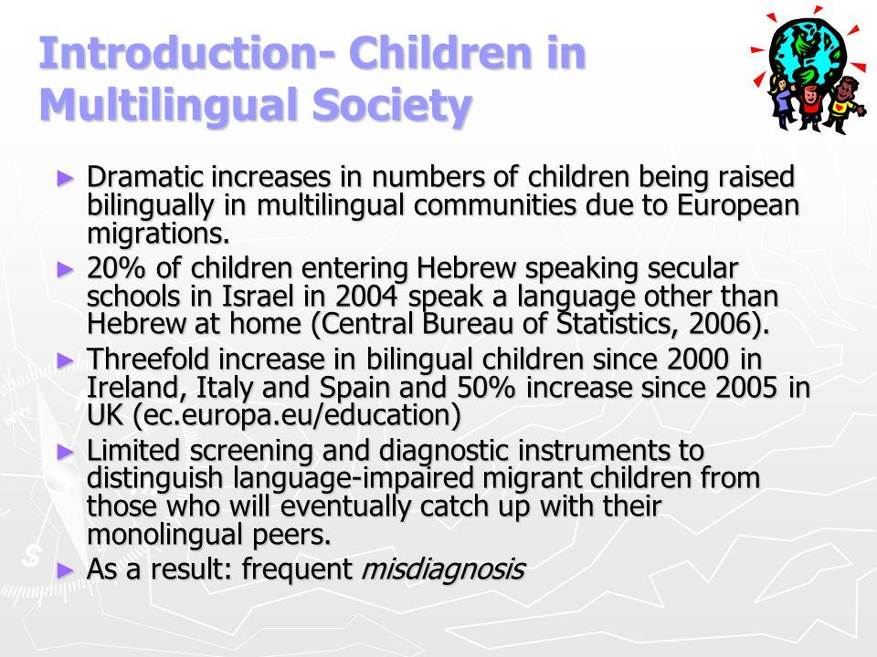 Study IV - Reference in Narrative: English-Hebrew Bilinguals with SLI & Hebrew Monolinguals with SLI (Jaber 2009) ► Task - telling a story from a set of pictures (Goralnik 1995) #AgeLoE Hebrew score (Goralnik 1995) L2 evaluation (CELF2 preschool) BiTLD95-72< Within norms BiSLI85-72< < -1.5 SD < -1 SD MoSLI85-7 < -1.5 SD