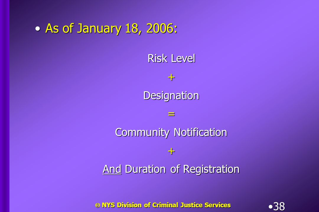  NYS Division of Criminal Justice Services 38 As of January 18, 2006:As of January 18, 2006: Risk Level +Designation= Community Notification + And Du
