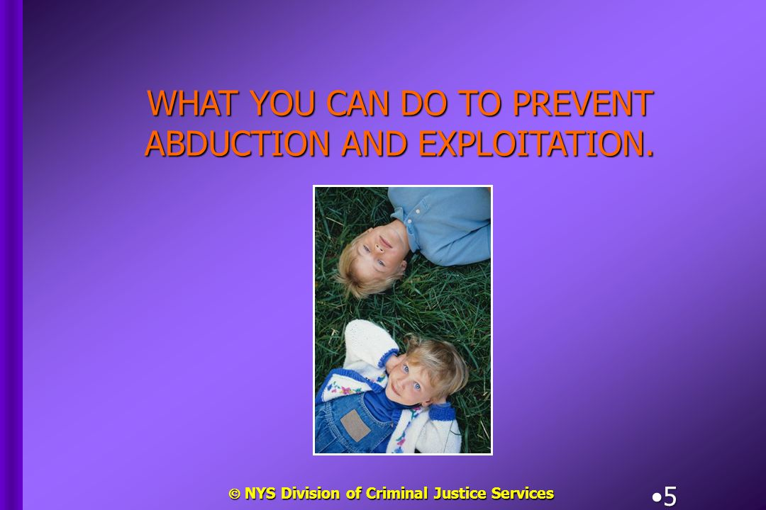  NYS Division of Criminal Justice Services 16 When using a babysitter in your home, ensure that he or she knows:When using a babysitter in your home, ensure that he or she knows: –Your expectations, including duties and responsibilities.