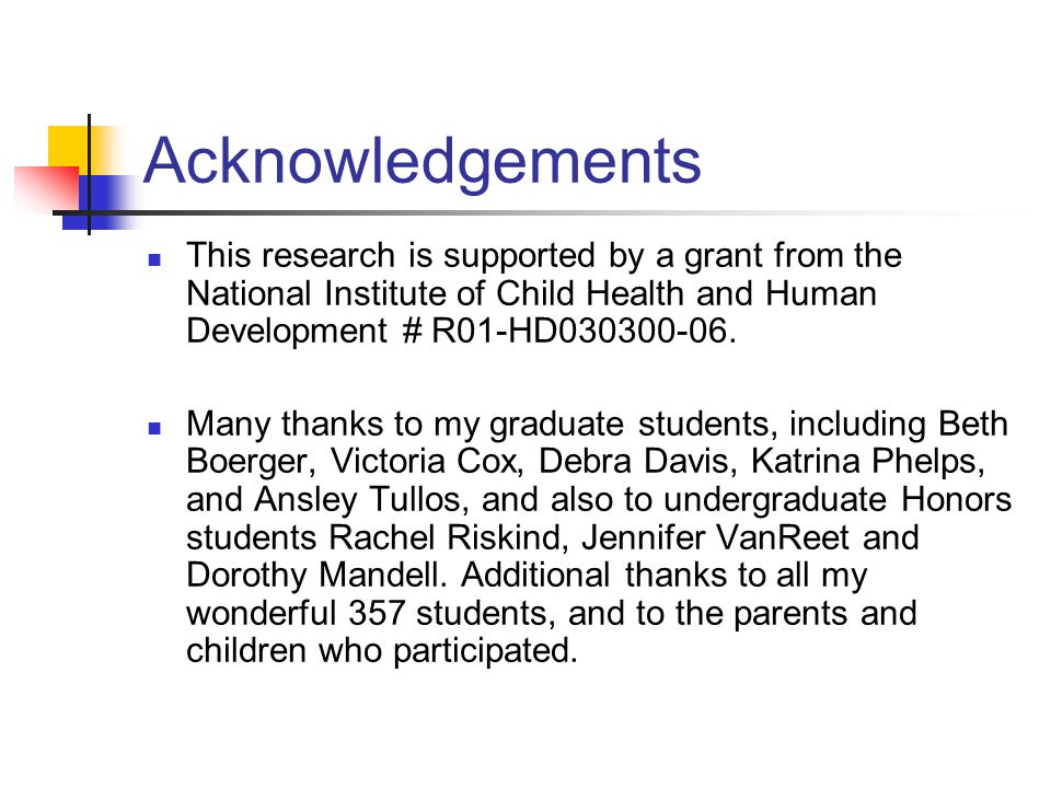 Acknowledgements This research is supported by a grant from the National Institute of Child Health and Human Development # R01-HD030300-06.