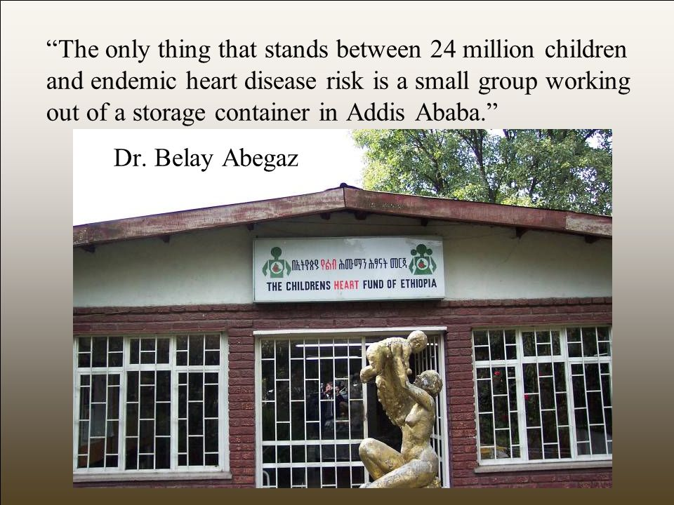 The only thing that stands between 24 million children and endemic heart disease risk is a small group working out of a storage container in Addis Ababa. Dr.