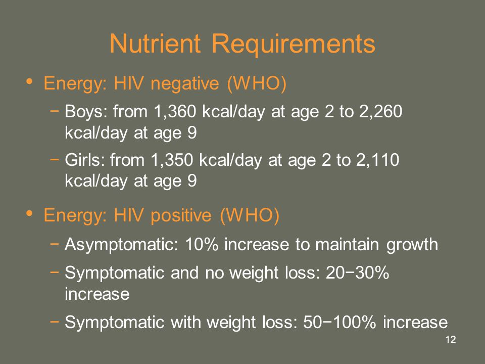 12 Nutrient Requirements Energy: HIV negative (WHO) −Boys: from 1,360 kcal/day at age 2 to 2,260 kcal/day at age 9 −Girls: from 1,350 kcal/day at age