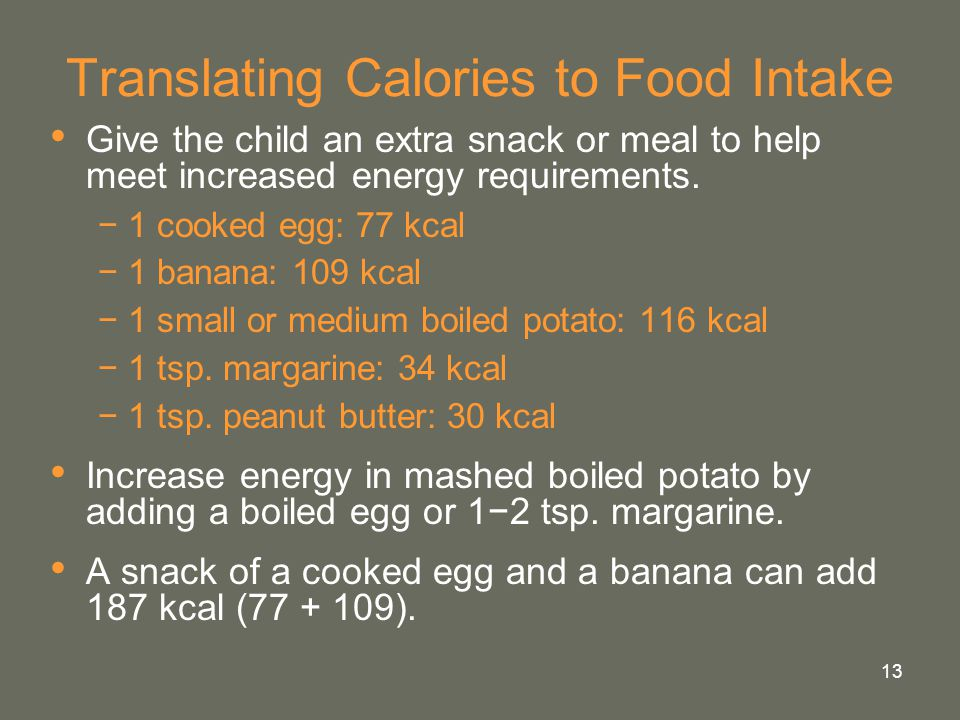 13 Translating Calories to Food Intake Give the child an extra snack or meal to help meet increased energy requirements. −1 cooked egg: 77 kcal −1 ban