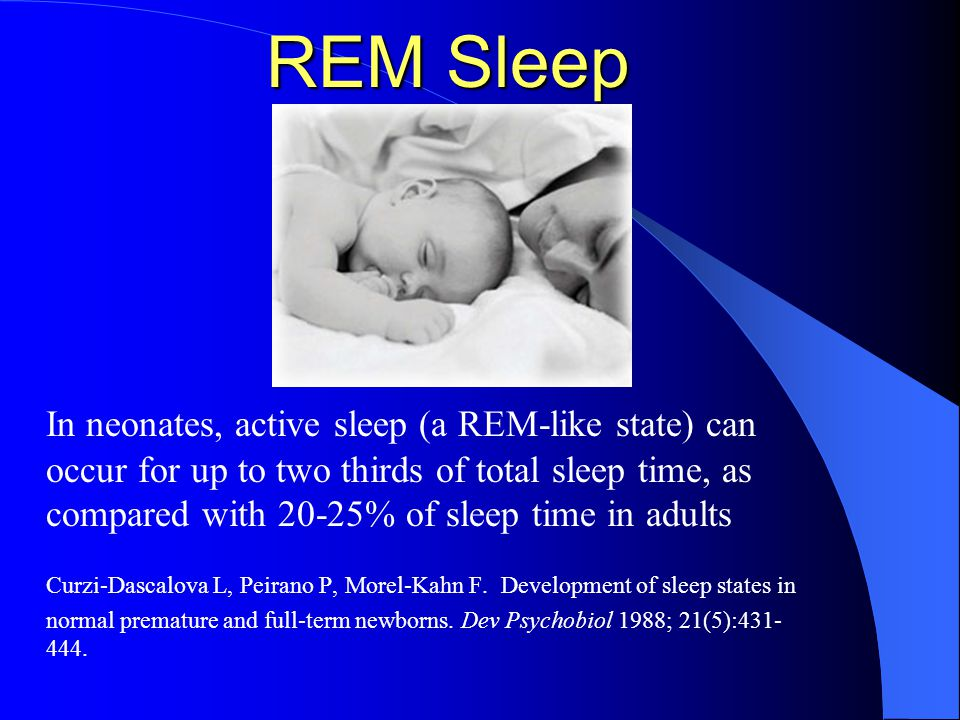 REM Sleep In neonates, active sleep (a REM-like state) can occur for up to two thirds of total sleep time, as compared with 20-25% of sleep time in adults Curzi-Dascalova L, Peirano P, Morel-Kahn F.