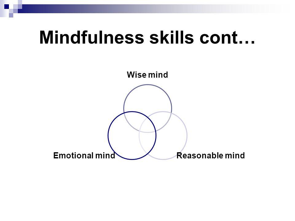 Mindfulness skills cont…