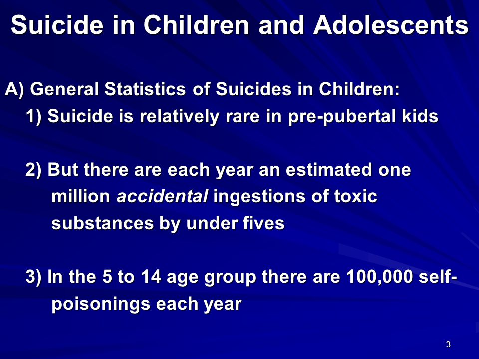 3 Suicide in Children and Adolescents A) General Statistics of Suicides in Children: 1) Suicide is relatively rare in pre-pubertal kids 1) Suicide is relatively rare in pre-pubertal kids 2) But there are each year an estimated one 2) But there are each year an estimated one million accidental ingestions of toxic million accidental ingestions of toxic substances by under fives substances by under fives 3) In the 5 to 14 age group there are 100,000 self- 3) In the 5 to 14 age group there are 100,000 self- poisonings each year poisonings each year