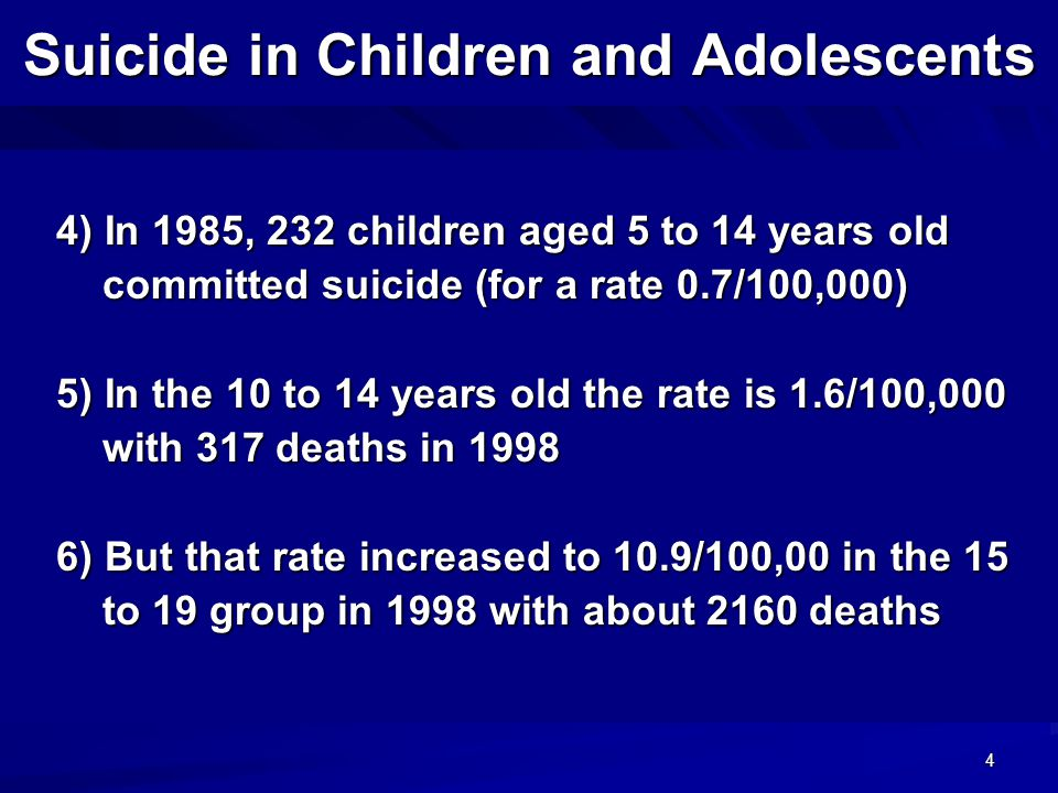 4 Suicide in Children and Adolescents 4) In 1985, 232 children aged 5 to 14 years old 4) In 1985, 232 children aged 5 to 14 years old committed suicide (for a rate 0.7/100,000) committed suicide (for a rate 0.7/100,000) 5) In the 10 to 14 years old the rate is 1.6/100,000 5) In the 10 to 14 years old the rate is 1.6/100,000 with 317 deaths in 1998 with 317 deaths in 1998 6) But that rate increased to 10.9/100,00 in the 15 6) But that rate increased to 10.9/100,00 in the 15 to 19 group in 1998 with about 2160 deaths to 19 group in 1998 with about 2160 deaths