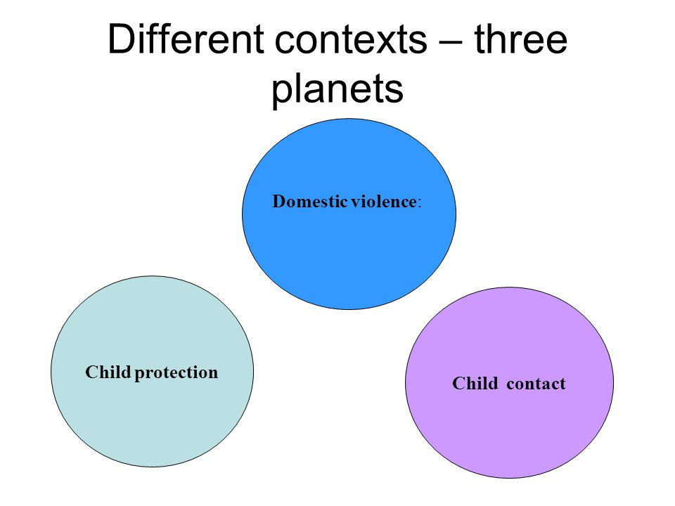 Different contexts – three planets Domestic violence: Child protection Child contact