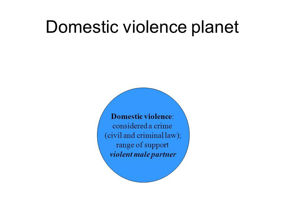 Domestic violence planet Domestic violence: considered a crime (civil and criminal law); range of support violent male partner