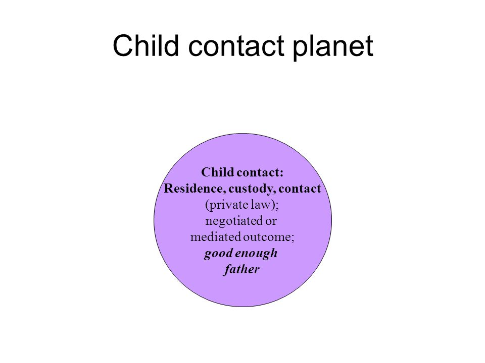 Child contact planet Child contact: Residence, custody, contact (private law); negotiated or mediated outcome; good enough father