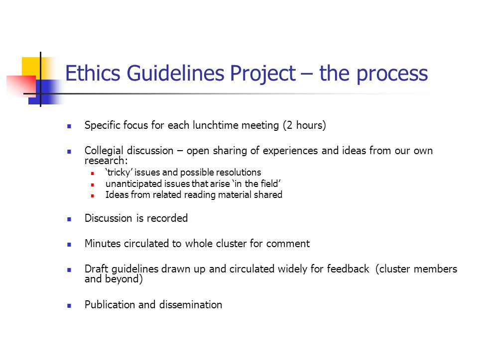 Ethics Guidelines Project – the aim The development of a set of ethics guidelines relating to research which includes children and young people. For u