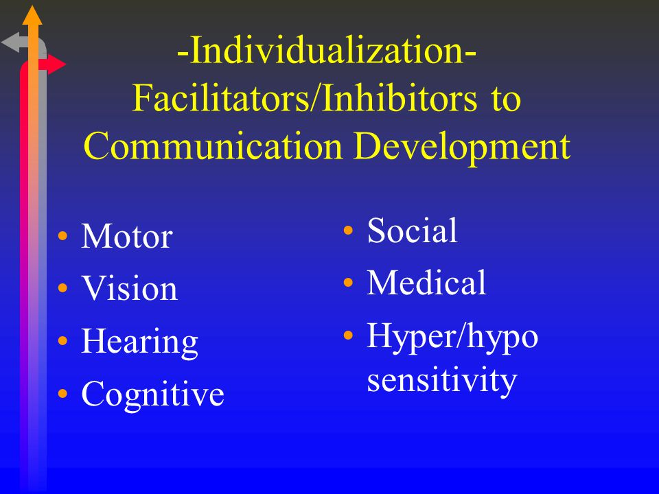 Individualization Any individual child's motor, cognitive, perceptual, social and medical status must be considered in order to individualize a communication & language program and make future decisions for movement HANDOUT