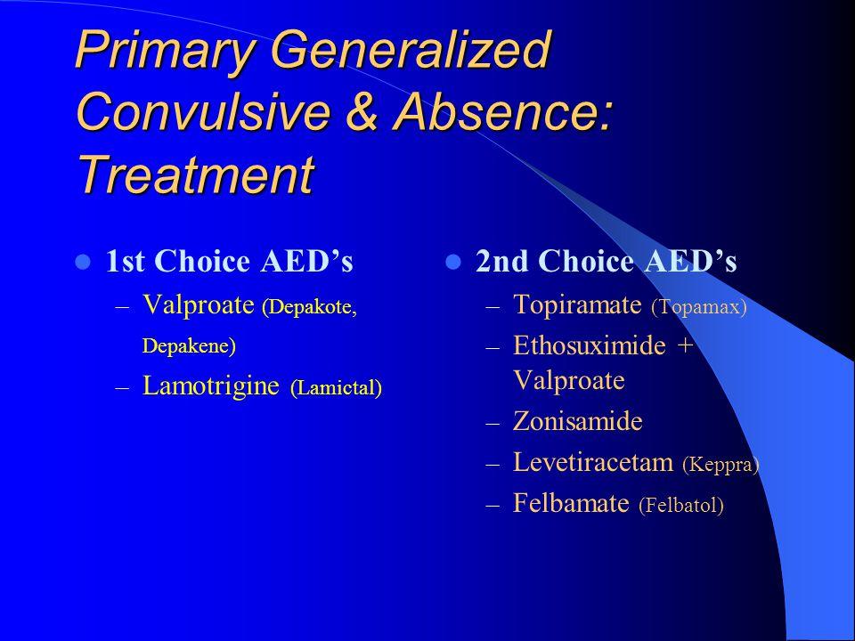 Primary Generalized Convulsive: Treatment 1st Choice AED's – Valproate (Depakote, Depakene)
