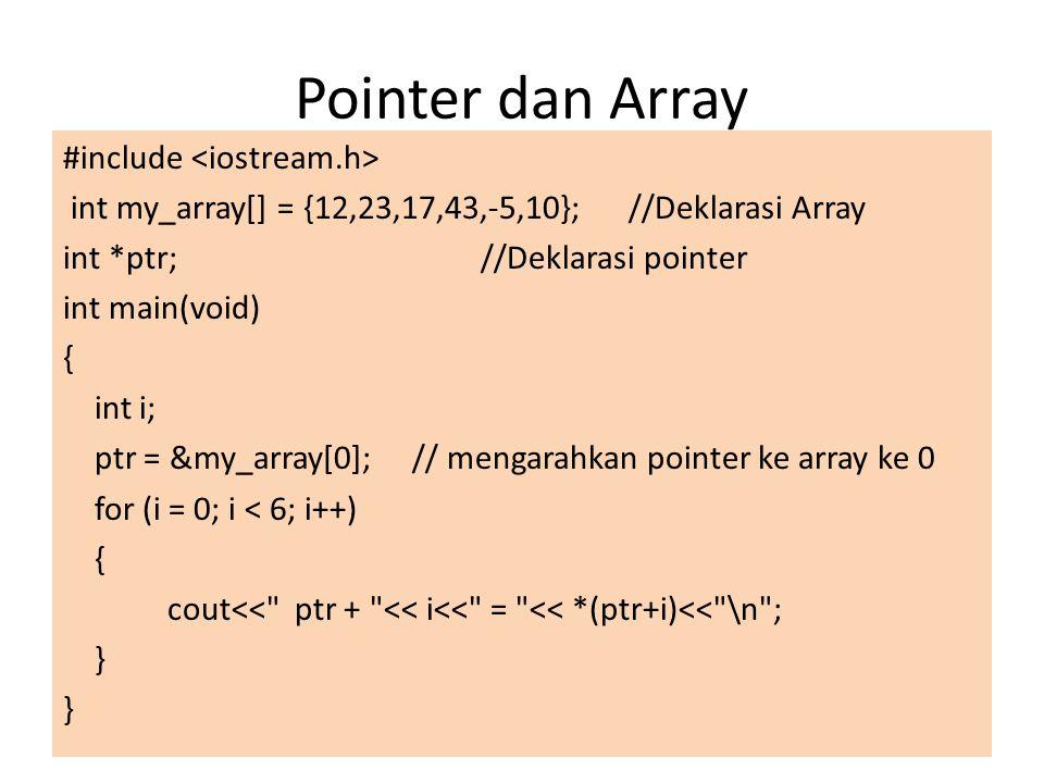 Pointer dan Array #include int my_array[] = {12,23,17,43,-5,10}; //Deklarasi Array int *ptr;//Deklarasi pointer int main(void) { int i; ptr = &my_arra