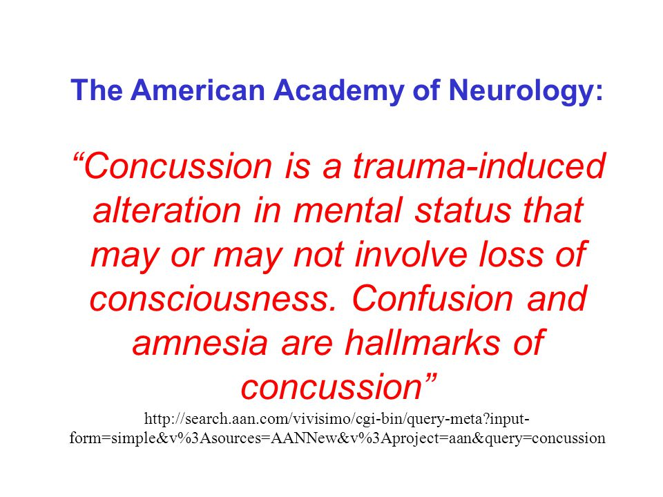 Mild Traumatic Brain Injury (AKA concussion) Most common, 75%-85% of all brain injuries are mild Individuals experience a brief (<15 minutes)or NO loss of consciousness Post Traumatic Amnesia < 1hour Normal neurological exam 90% of individuals recover within 6-8 weeks, often within hours or days