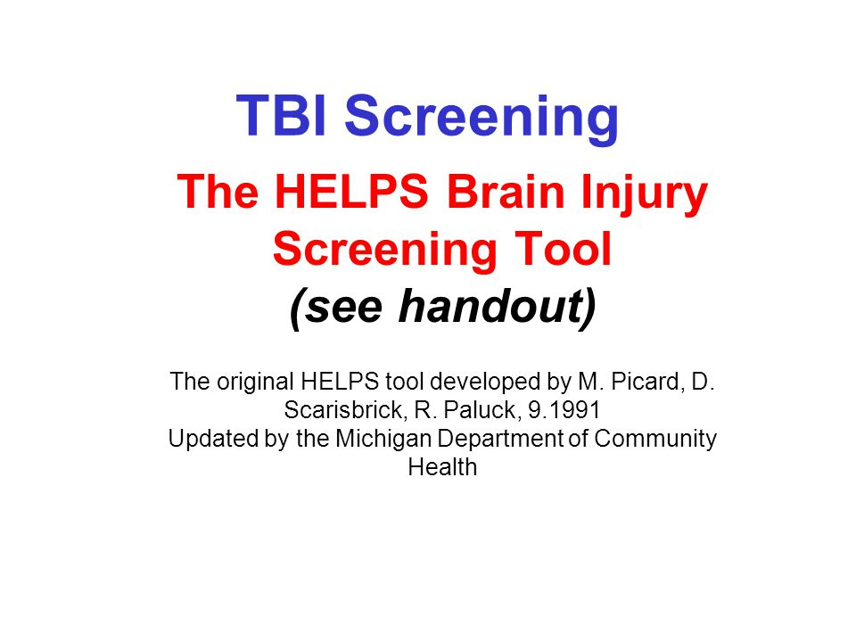 In Maryland- Screening Results from the MD TBI Post Demo II Project-2005 –Summary of TBI Incidence Among all Screened at 7 public mental health agencies in Frederick and Anne Arundel counties –N=190 –39% no reported history of TBI (78) –58.94% of individuals with a history of TBI (112) –35.78% of individuals with a history of a single incidence of TBI (68) –23% of individuals with a history of 2 or more TBIs (44)