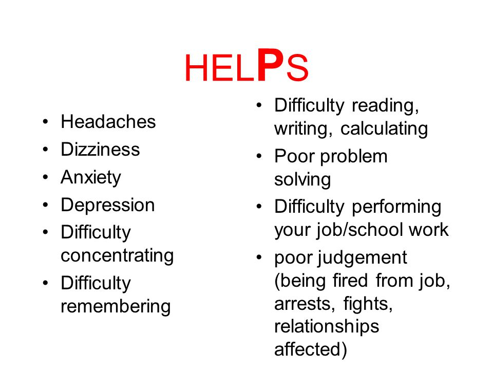 HEL P S Do you experience any of these Problems in your daily life since you hit your head.