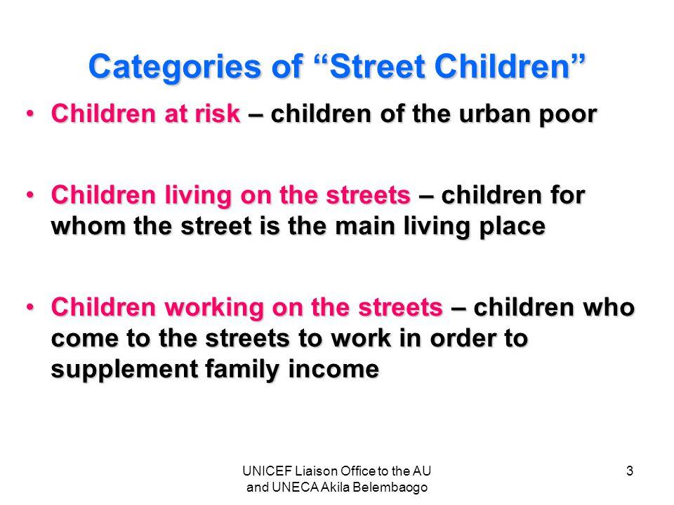 "Categories of ""Street Children"" Children at risk – children of the urban poorChildren at risk – children of the urban poor Children living on the stre"