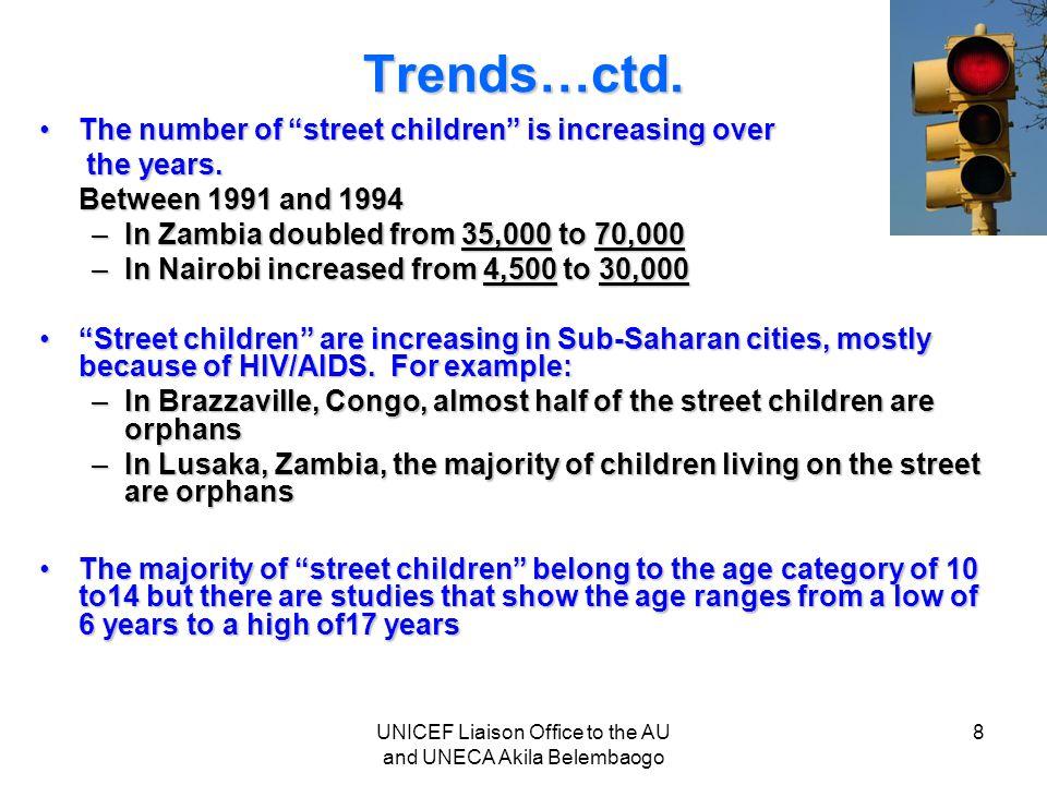 "Trends…ctd. The number of ""street children"" is increasing overThe number of ""street children"" is increasing over the years. the years. Between 1991 an"