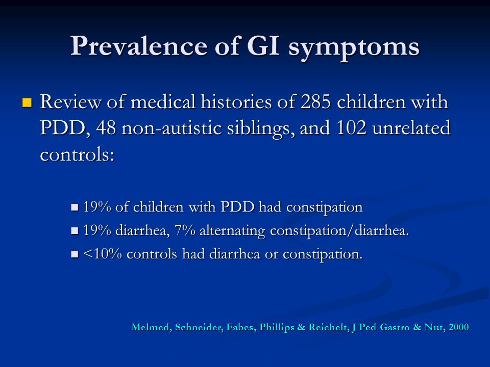 Prevalence of GI symptoms Review of medical histories of 285 children with PDD, 48 non-autistic siblings, and 102 unrelated controls: Review of medica