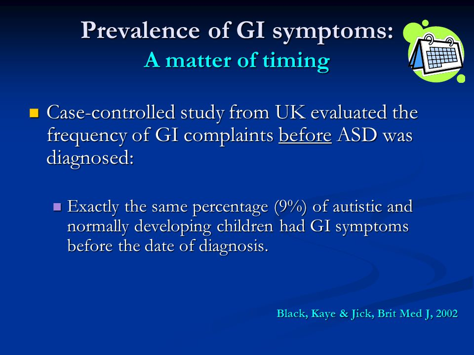 Prevalence of GI symptoms: A matter of timing Case-controlled study from UK evaluated the frequency of GI complaints before ASD was diagnosed: Case-co