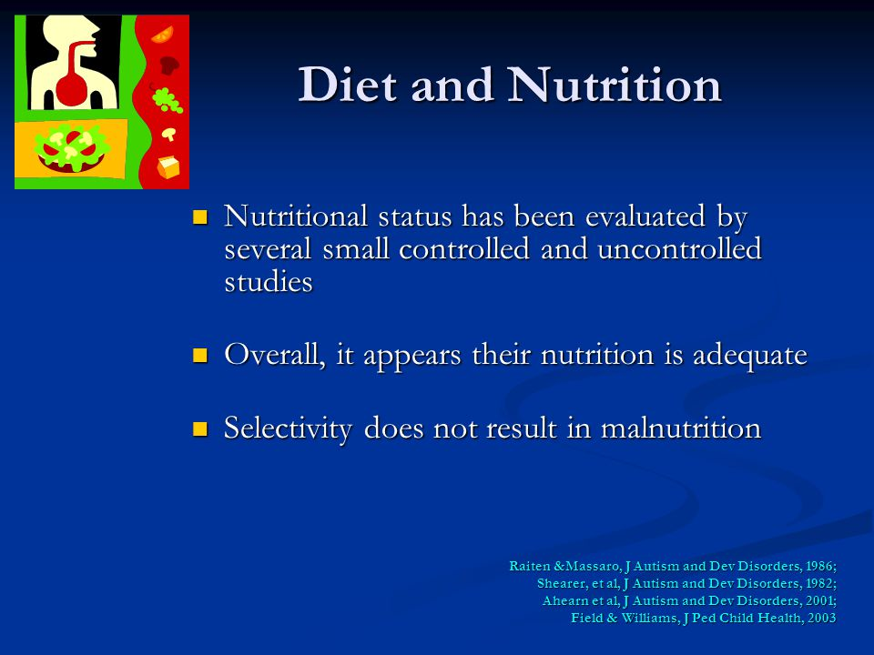 Diet and Nutrition Nutritional status has been evaluated by several small controlled and uncontrolled studies Nutritional status has been evaluated by