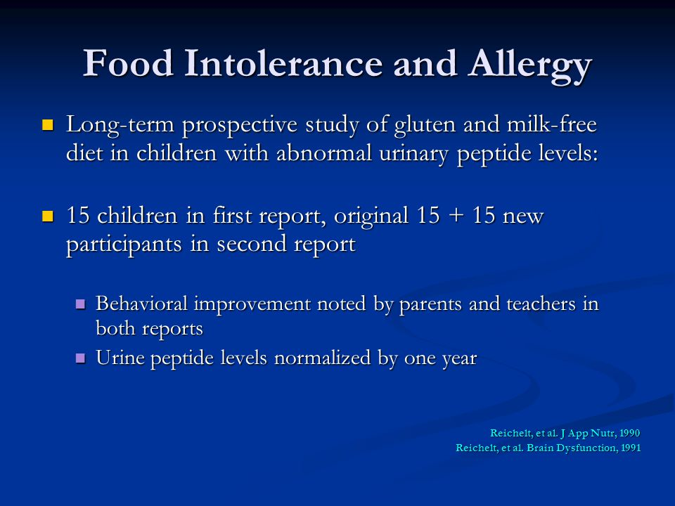 Food Intolerance and Allergy Long-term prospective study of gluten and milk-free diet in children with abnormal urinary peptide levels: Long-term pros
