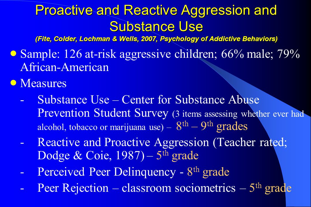 Proactive and Reactive Aggression and Substance Use (Fite, Colder, Lochman & Wells, 2007, Psychology of Addictive Behaviors)  Sample: 126 at-risk aggressive children; 66% male; 79% African-American  Measures -Substance Use – Center for Substance Abuse Prevention Student Survey (3 items assessing whether ever had alcohol, tobacco or marijuana use) – 8 th – 9 th grades -Reactive and Proactive Aggression (Teacher rated; Dodge & Coie, 1987) – 5 th grade -Perceived Peer Delinquency - 8 th grade -Peer Rejection – classroom sociometrics – 5 th grade