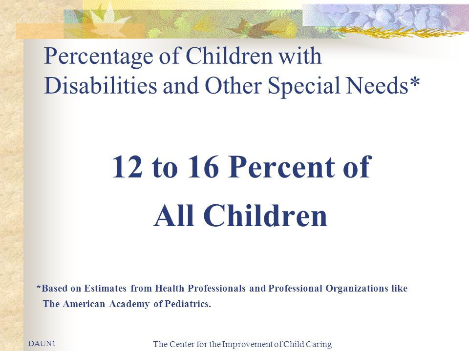 The Center for the Improvement of Child Caring Percentage of Children with Disabilities and Other Special Needs* 12 to 16 Percent of All Children *Bas
