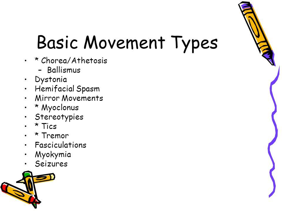 Basic Movement Types * Chorea/Athetosis –Ballismus Dystonia Hemifacial Spasm Mirror Movements * Myoclonus Stereotypies * Tics * Tremor Fasciculations