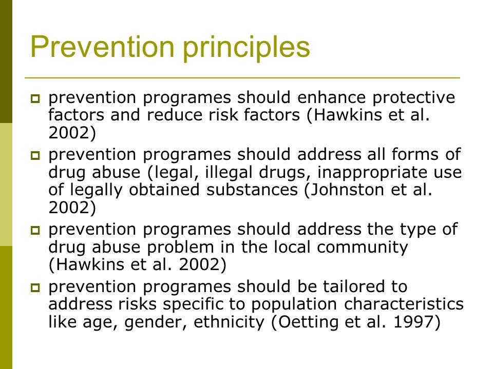 Prevention principles  prevention programes should enhance protective factors and reduce risk factors (Hawkins et al.