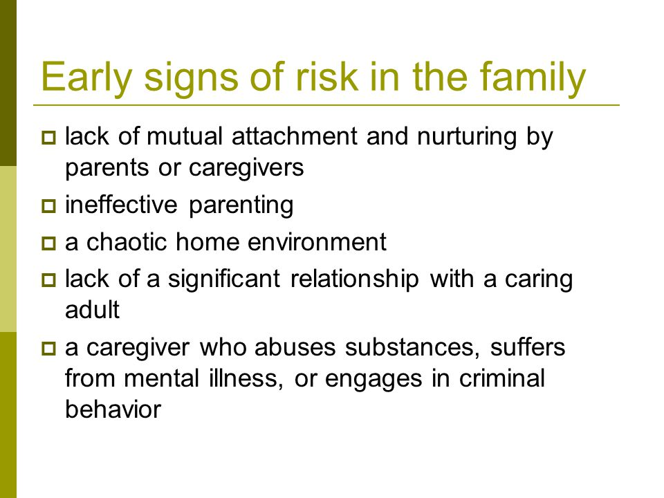 Risk factors outside the family  inappropriate classroom behavior, such as aggression and impulsivity  academic failure  poor social coping skills  association with peers with problem behaviors, including drug abuse  misperceptions of the extent and acceptability of drug-abusing behaviors in school, peer, and community environments