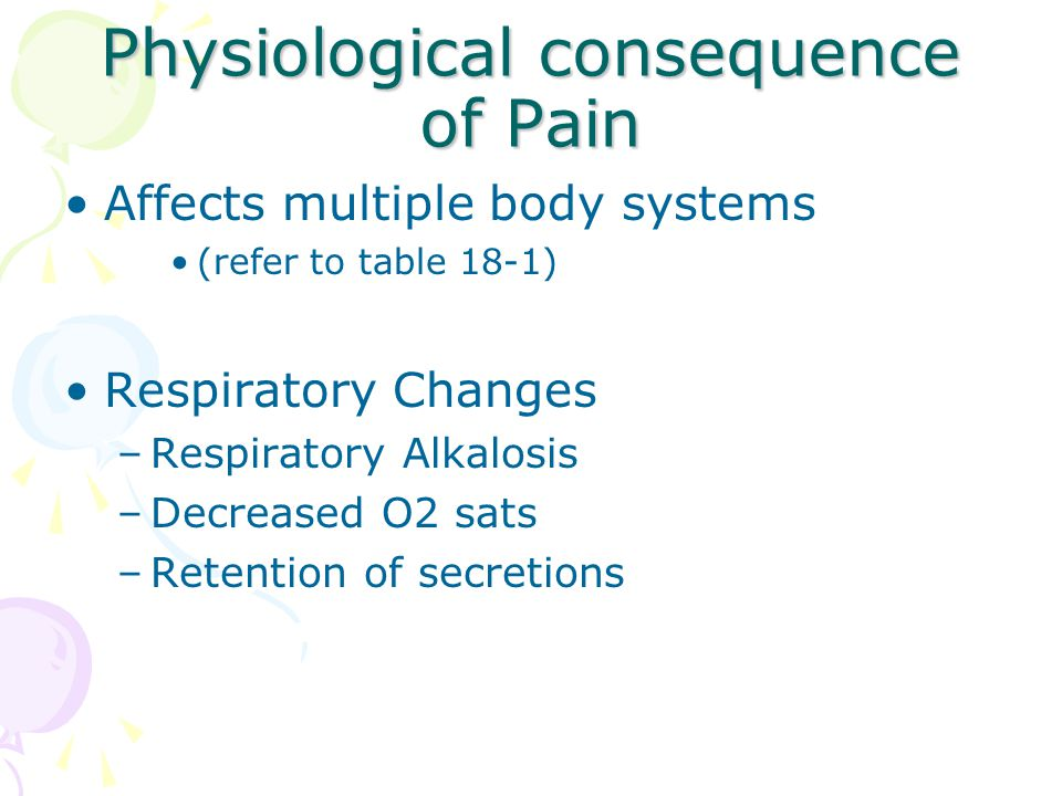 Physiological consequence of Pain Affects multiple body systems (refer to table 18-1) Respiratory Changes –Respiratory Alkalosis –Decreased O2 sats –R
