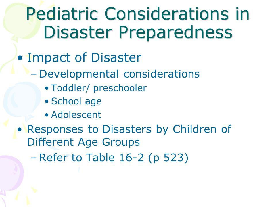 Pediatric Considerations in Disaster Preparedness Impact of Disaster –Developmental considerations Toddler/ preschooler School age Adolescent Response