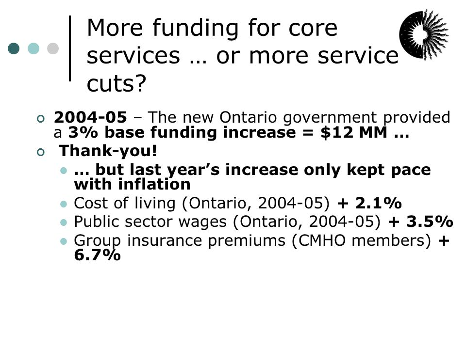 More funding for core services … or more service cuts.