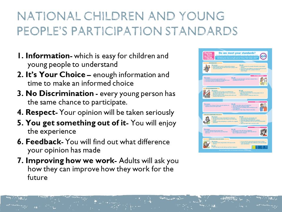National Children and Young People's Participation Standards 1. Information- which is easy for children and young people to understand 2. It's Your Ch
