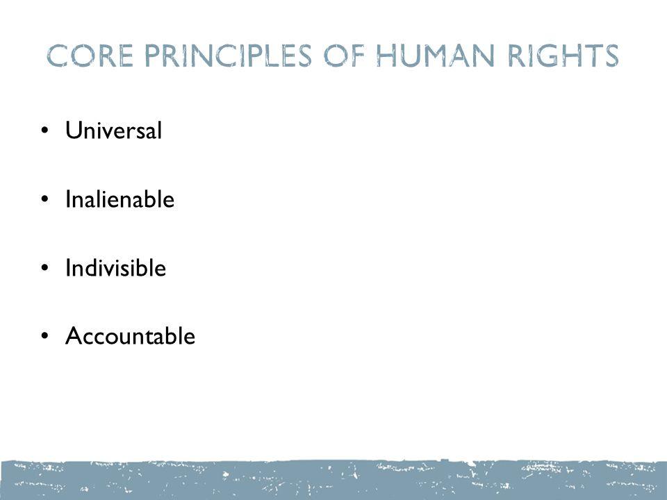 Core Principles of Human Rights Universal Inalienable Indivisible Accountable