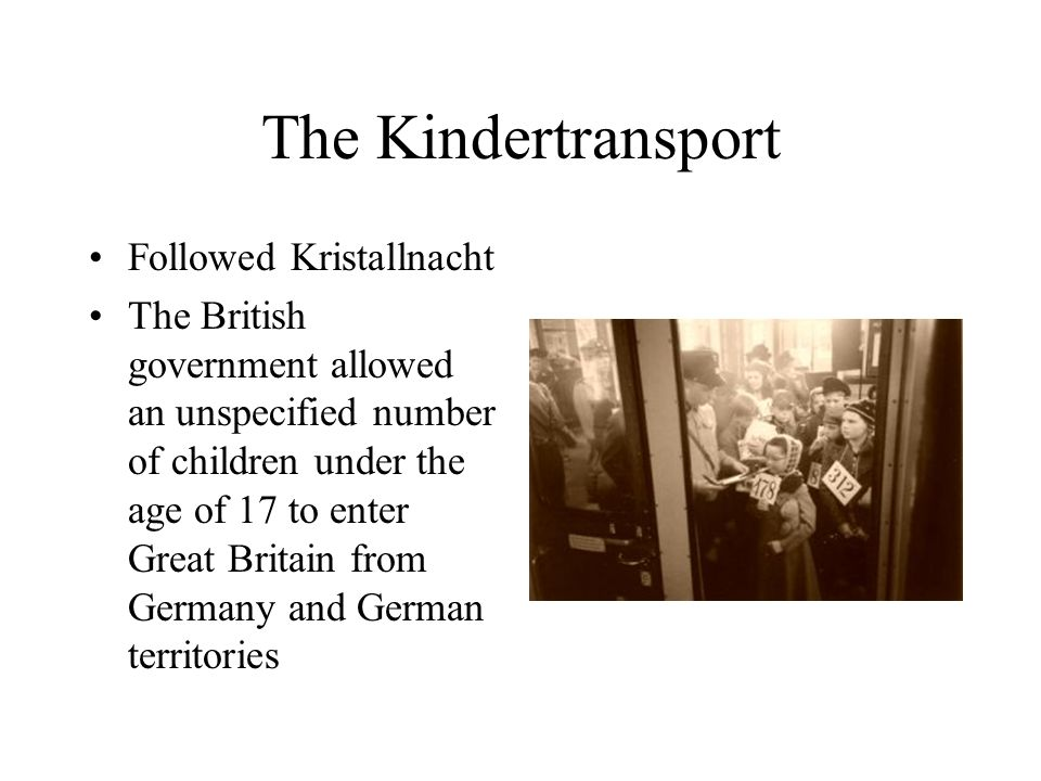 The Kindertransport Private citizens had to pay for each child's care, education, and emigration parents or guardians could not accompany children last transport from Germany was in September 1939, just before the war started