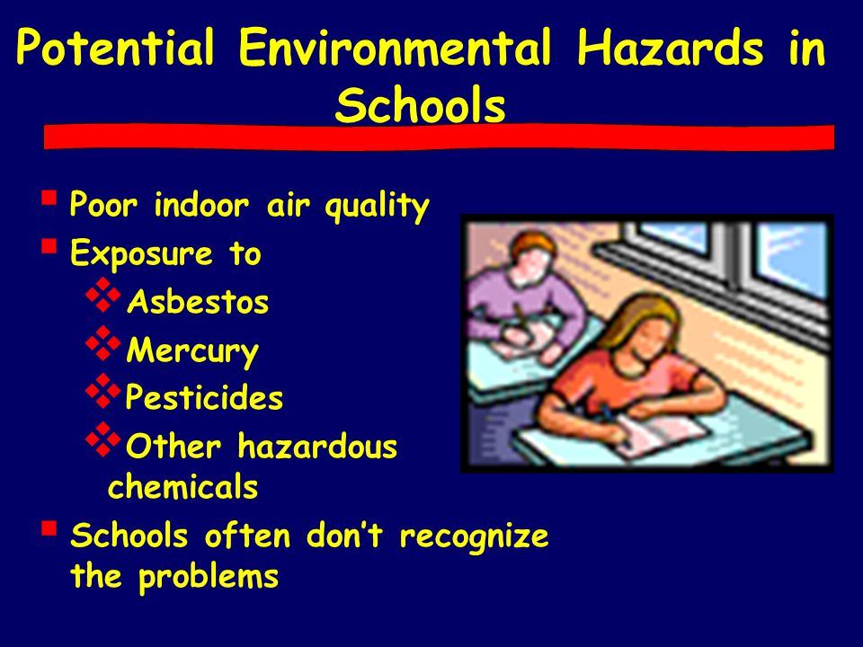 Potential Environmental Hazards in Schools  Poor indoor air quality  Exposure to  Asbestos  Mercury  Pesticides  Other hazardous chemicals  Sch