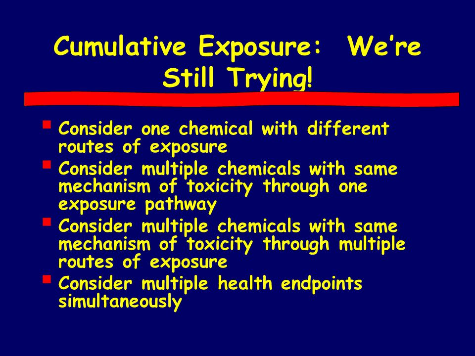 Cumulative Exposure: We're Still Trying!  Consider one chemical with different routes of exposure  Consider multiple chemicals with same mechanism o