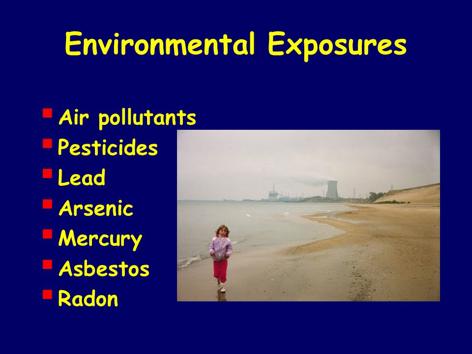 Environmental Exposures  Air pollutants  Pesticides  Lead  Arsenic  Mercury  Asbestos  Radon
