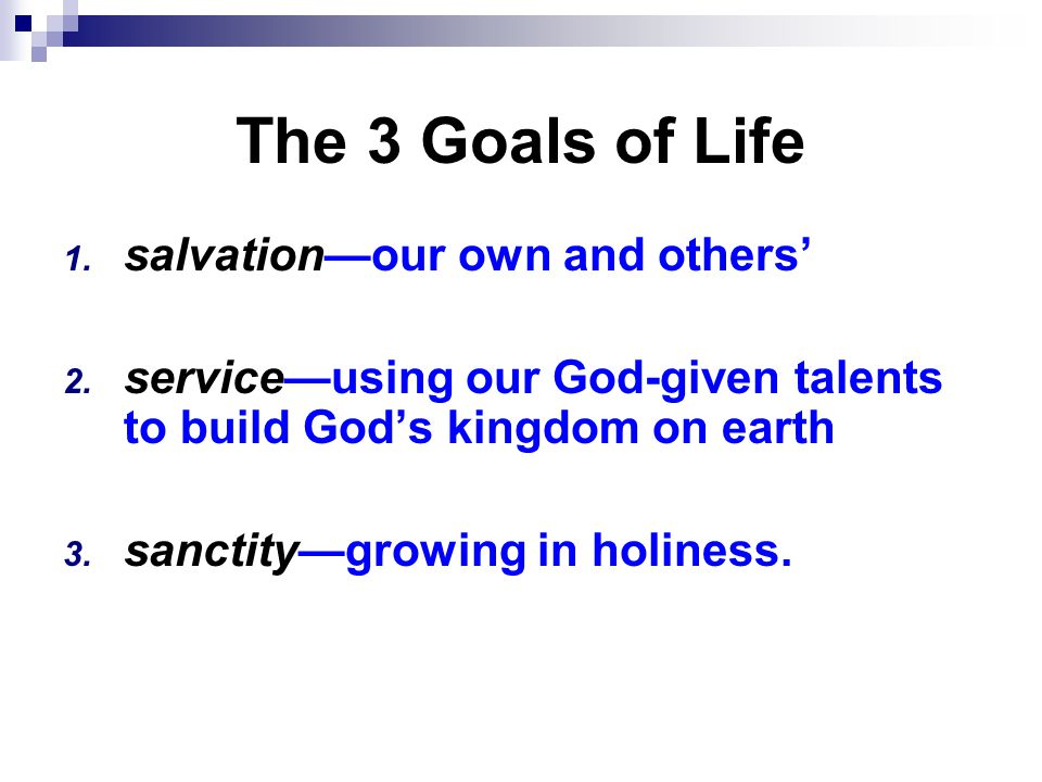 The 3 Goals of Life 1. salvation—our own and others' 2.