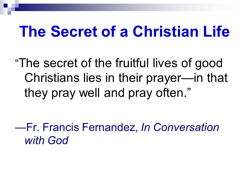 The Secret of a Christian Life The secret of the fruitful lives of good Christians lies in their prayer—in that they pray well and pray often. —Fr.