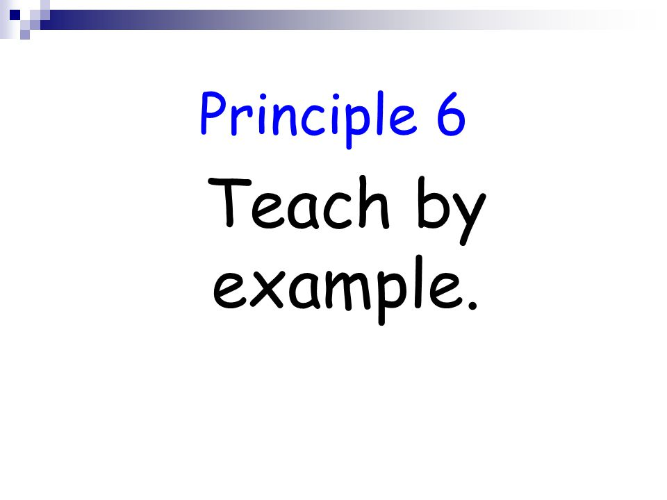 Principle 6 Teach by example.