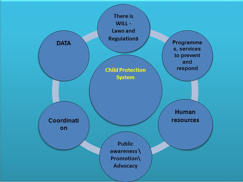Child Protection: General – Systems and Services There is WILL - Laws and Regulation s Programme s, services to prevent and respond Child Protection System Human resources Public awareness \ Promotion\ Advocacy Coordinati on DATA